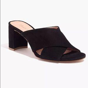 Madewell Black Suede Greer Slide Sandals Sz 9.5